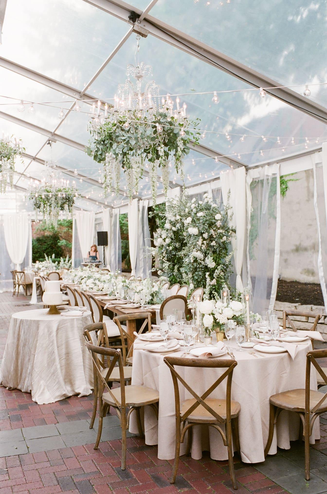 Tent wedding reception decor at Chicago Illuminating Company Wedding