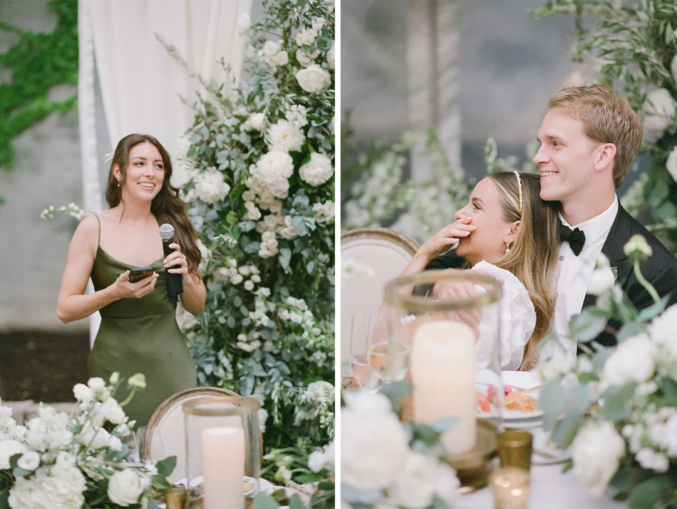Maid of honor giving her speech at Chicago wedding