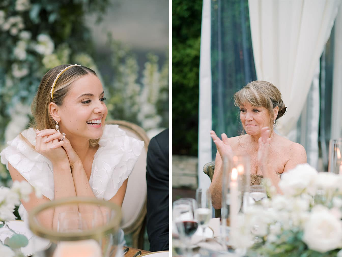 Mother of bride crying during wedding reception speeches