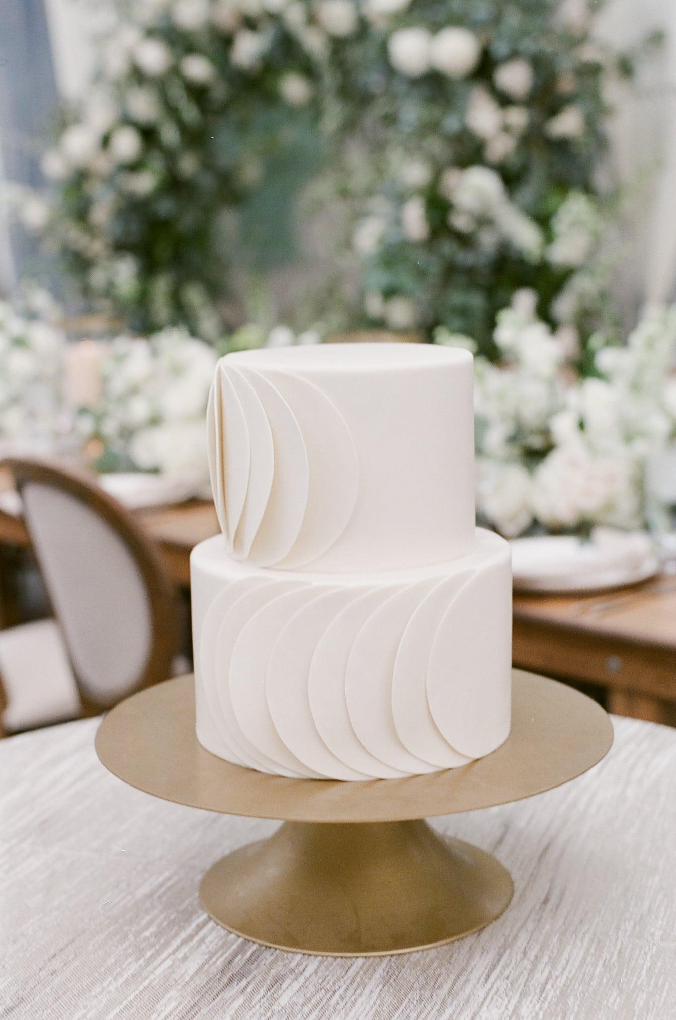 Modern wedding cake in white