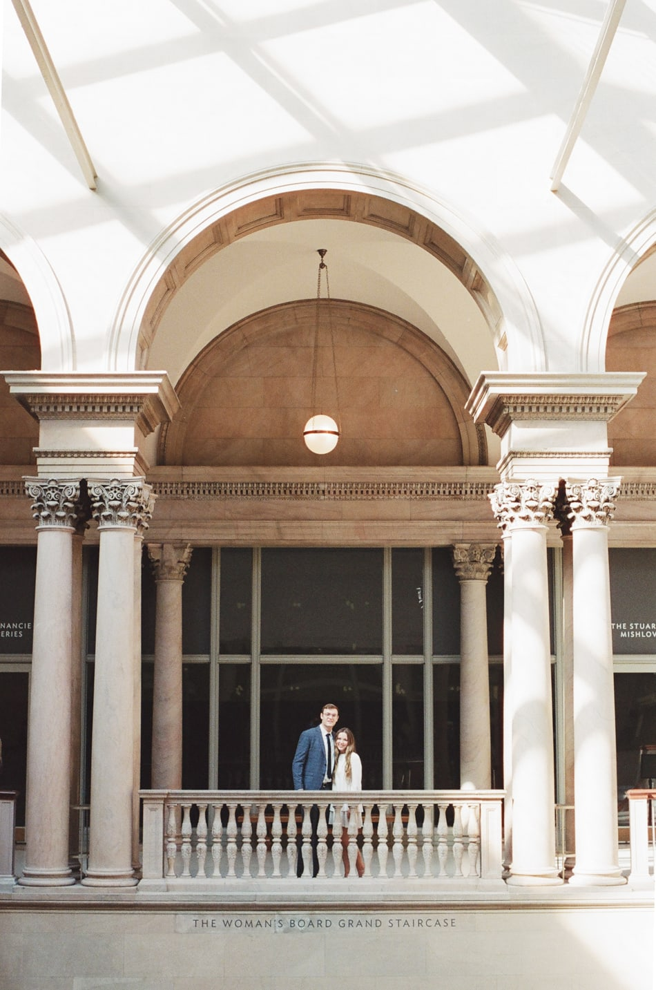 Bride and Groom facing the camera during their Chicago Art Institute Engagement