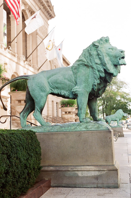 Copper lion statue at Chicago Art Institute