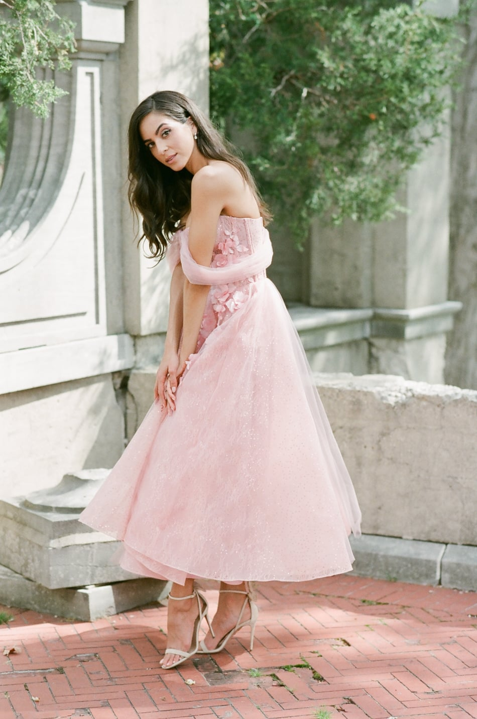 Bride wearing a blush dress for her wedding at Armour House