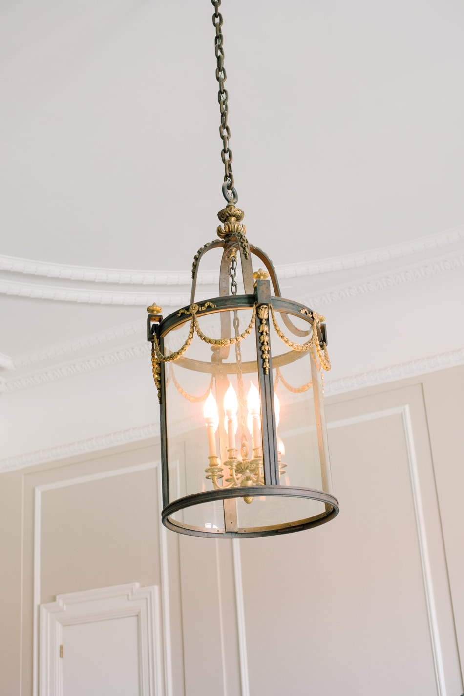 French inspired chandelier at Armour House