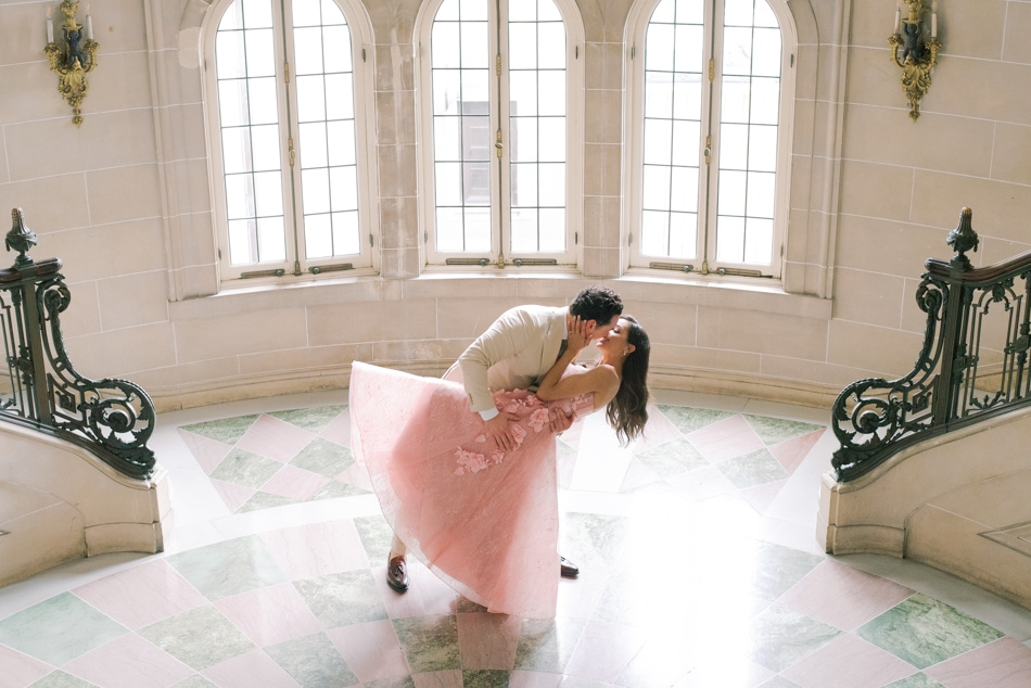 Bride and groom's first kiss at their wedding at Armour House