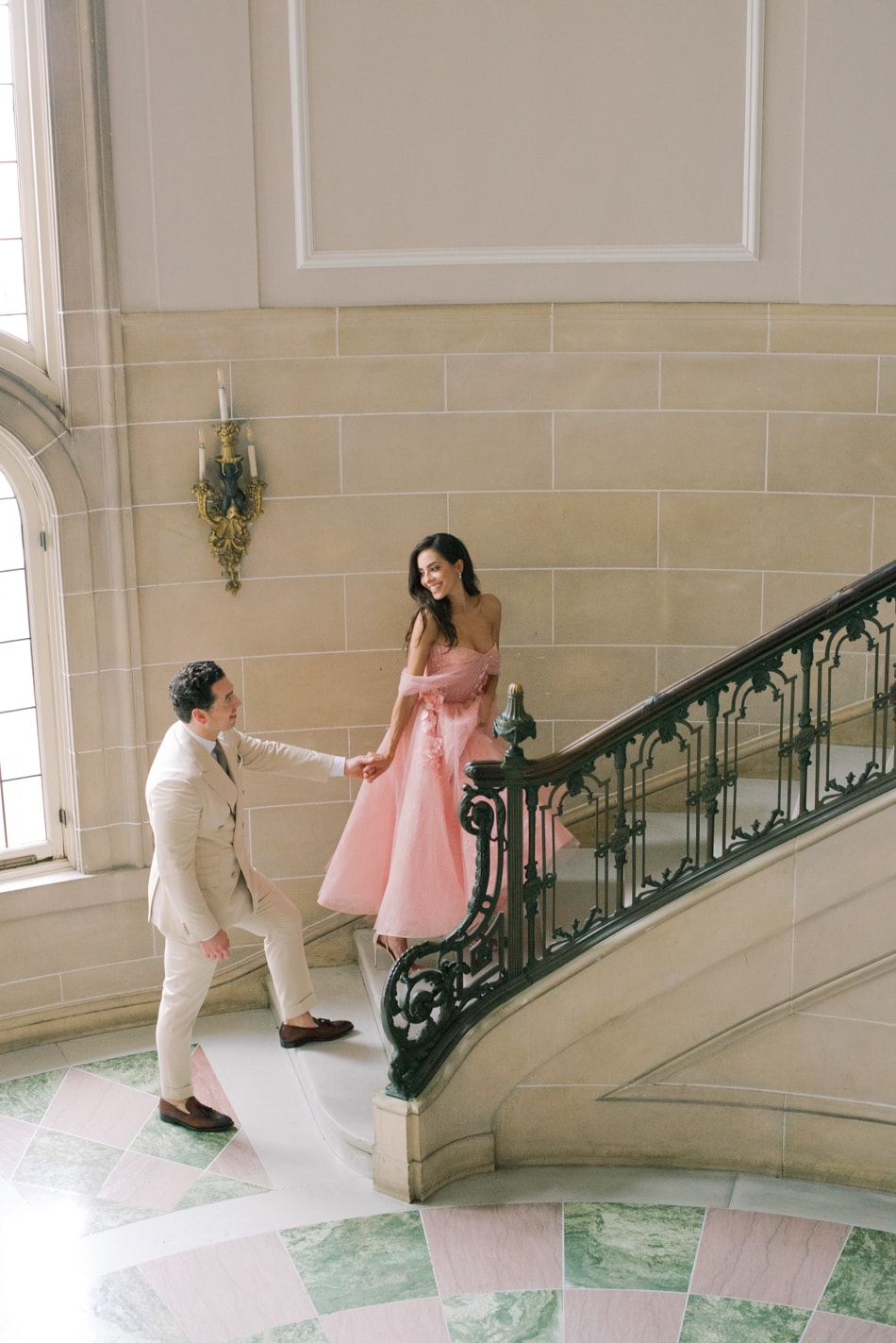 European inspired engagement session at Armour House in Lake Forest